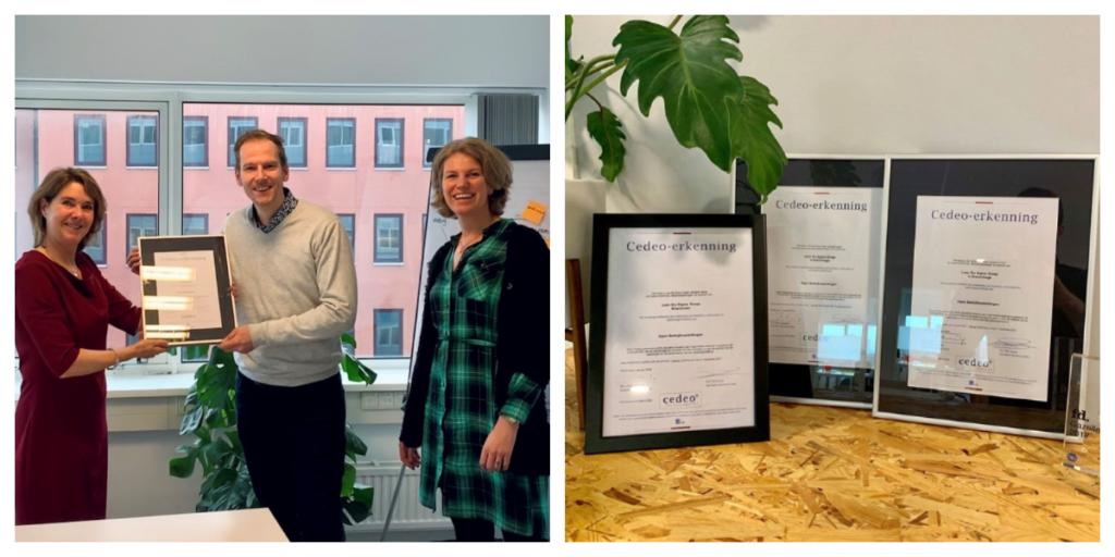Lean Six Sigma Groep Partners nemen de Cedeo erkenning in ontvangst