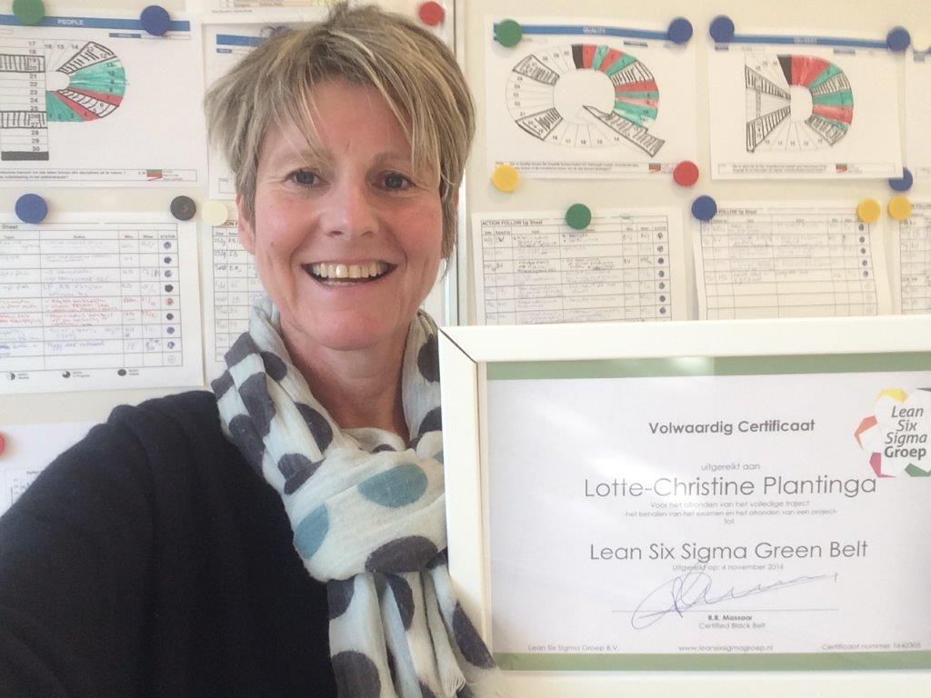 Green Belt Certificaat Dr. Lotte Plantinga, Quality in Production Specialist bij Boehringer-Ingelheim Animal Health Operations