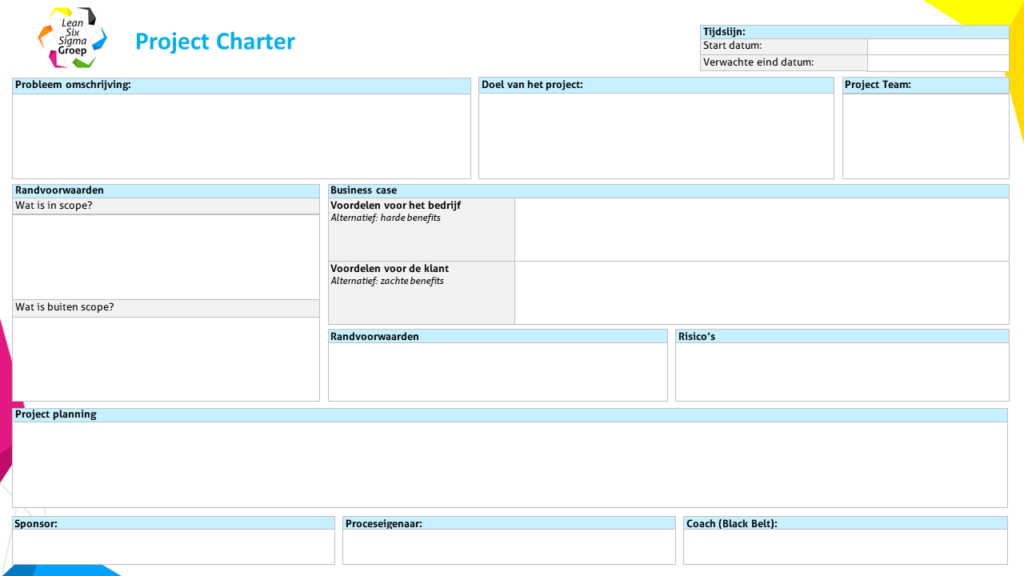 Voorbeeld van een project charter gebruikt bij Green Belt training